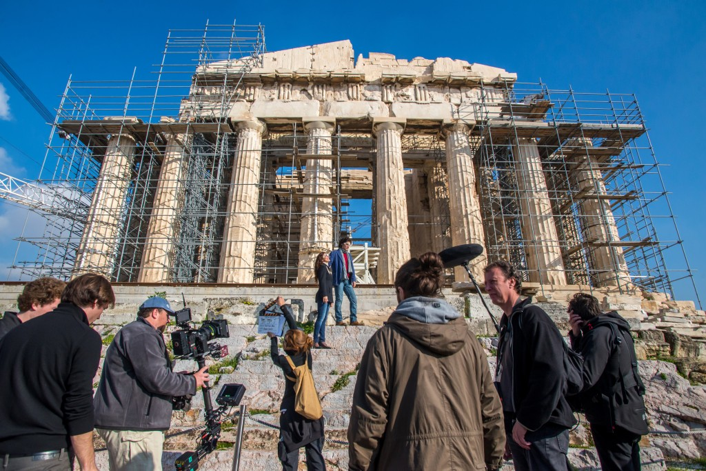 Behind the Scenes: Filming on the Acropolis on January 5th, 2014. [Photograph by Gregory Thanopoulos]