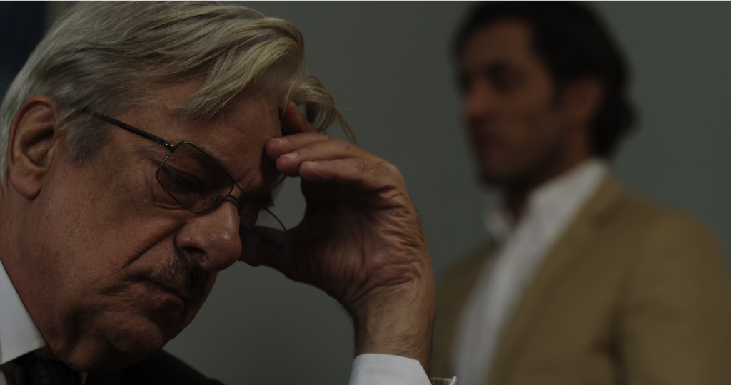 Giancarlo Giannini as the Director of the Acropolis Museum, a man who is burdened by a responsibility to return the Parthenon sculptures. [Photograph by Gregory Thanopoulos]