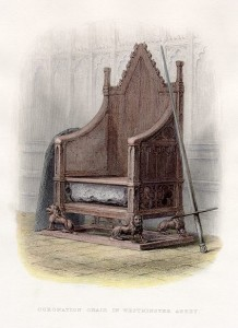 The Stone of Scone embedded in the Coronation Chair (anonymous engraver, 1855). The Stone of Scone, used by the Scots for the coronation of Scottish monarchs, was taken by the English and kept in London. Centuries later, the English returned it to the Scots, putting a piece of Scottish heritage back to its rightful place. [Image source: Wikipedia]