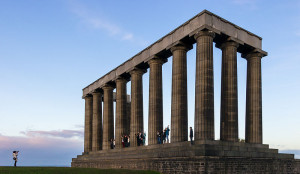 A partial reconstruction of the Parthenon at the top of Calton Hill in Edinburgh, Scotland. [Image source: Wikipedia]