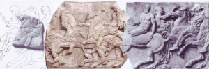 A jigsaw puzzle is waiting to be completed while the Acropolis sculptures remain divided. In this example: pieces no. XXXII, XXIII and XXXIV from the northern part of the Parthenon frieze. The middle piece is in London, while its matching, adjacent pieces are in Athens. [Image source: Hellenic Ministry of Culture. Available online as a Presentation of the Parthenon Sculptures (ppt) at http://odysseus.culture.gr/a/1/12/ea126.html]