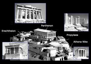 The buildings on the Acropolis of Athens are: the Propylaea, the temple of Athens Nike, the Erechteion, and the Parthenon. Elgin removed sculptures and/or architectural members from all of these buildings - especially from the Parthenon.