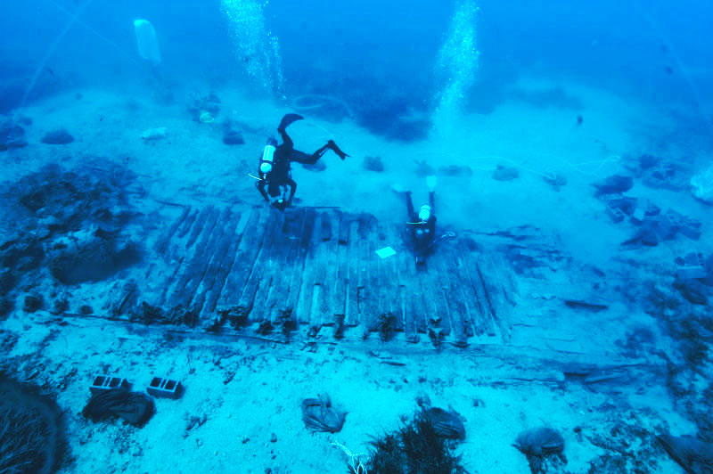 """Shipwreck of """"Mentor"""", the ship that sank off Kythera in 1802, carrying Acropolis sculptures. [Image source: http://krg.org.au/mentor/]"""