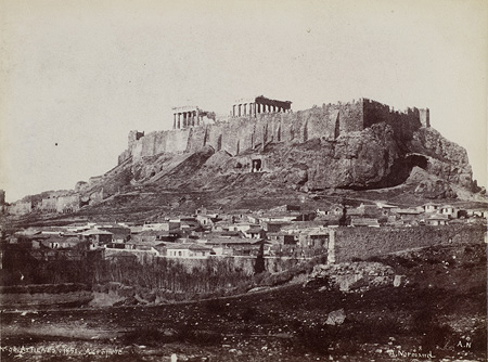 Southeastern side of the Acropolis and surrounding area. Athens, 1851 · Alfred Nicolas Normand · © Benaki Museum Photographic Archive