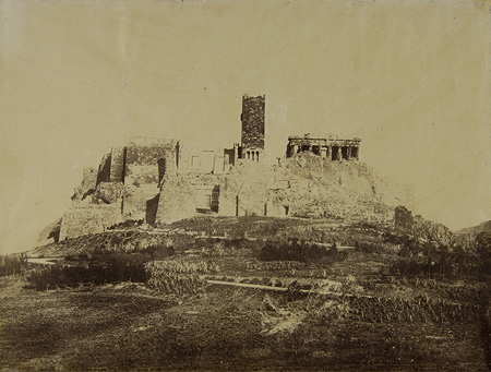 The western side of the Acropolis with the Frankish Tower ('Koulas'). Athens, c. 1865 · © Benaki Museum Photographic Archive
