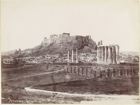 Temple of Olympian Zeus with the Acropolis in the background. The three individual columns of the temple and the cloister of a colonnade are visible. Athens, 1851 · Alfred Nicolas Normand · © Benaki Museum Photographic Archive