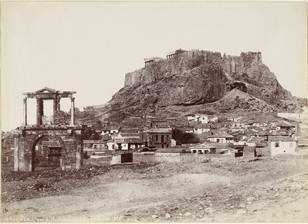Hadrian's Gate with the Acropolis in the background. Athens, 1852 · Alfred Nicolas Normand · © Benaki Museum Photographic Archive