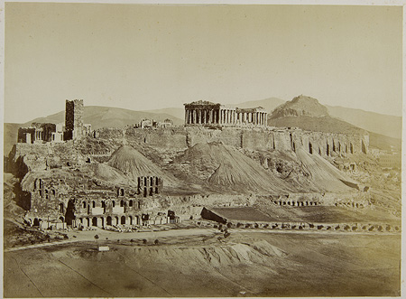 The Acropolis from Philoppapou Hill. The Odeon of Herod Atticus is visible. Athens, c. 1865 · Dimitrios Konstantinou · © Benaki Museum Photographic Archive