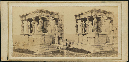 The northeastern side of the porch of the Caryatids, Erechtheion. Athens, c. 1865 · © Benaki Museum Photographic Archive