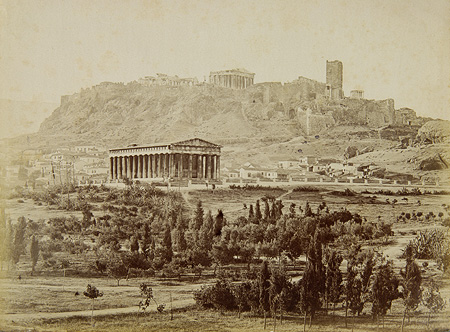 View of the Theseion with the Acropolis in the background. The Frankish Tower ('Koulas') is visible. Athens, c. 1870 · Petros Moraitis · © Benaki Museum Photographic Archive