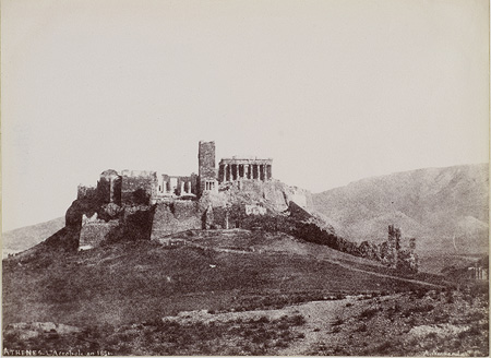 Western side of the Acropolis. The Frankish Tower ('Koulas'), the old external entrance, the dome ('Tholiko') and the Seprenje wall are visible. Athens, 1851 · Alfred Nicolas Normand · © Benaki Museum Photographic Archive