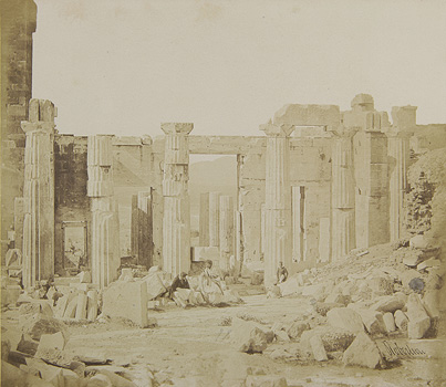 View of the central building of the Propylaea from the east. Athens, 1853-1854 · James Robertson · © Benaki Museum Photographic Archive