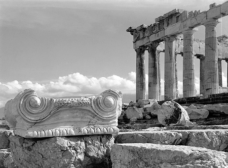 Ionic capital and the northeastern corner of the Parthenon. Athens, c. 1925-1939 · Nelly's · © Benaki Museum Photographic Archive