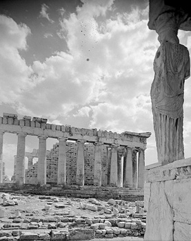 Rear view of a Caryatid and the northern side of the Parthenon. Athens, c. 1925-1939 · Nelly's · © Benaki Museum Photographic Archive
